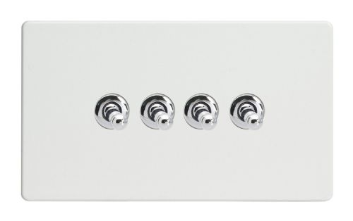 Varilight XDQT9S Screwless Premium White 4 Gang 10A 1 or 2 Way Toggle Light Switch